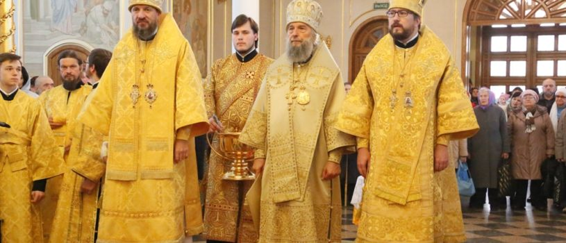 Свято-Феодоровском кафедральном соборе состоялась праздничная Божественная Литургия, которую совершили три Архиерея Мордовской митрополии