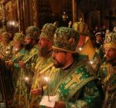 Всенощное бдение накануне дня памяти преставления преподобного Сергия, игумена Радонежско в Успенском собореСвято-Троицкой Сергиевой лавры