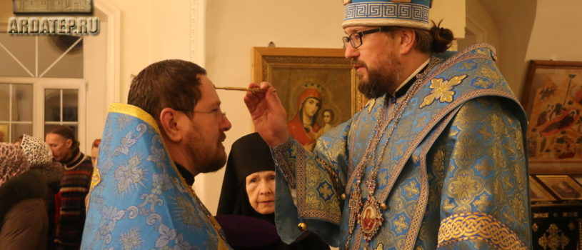 Всенощное бдение в Никольском кафедральном соборе г.Ардатова накануне праздника Сретения Господня