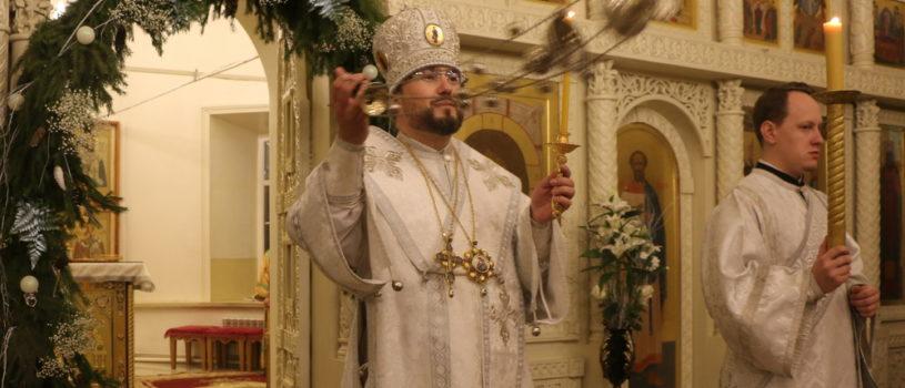 Всенощное бдение в Никольском кафедральном соборе накануне праздника Рождества Христова