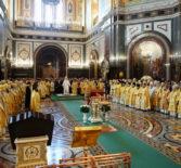 Архипастырь сослужил Его Святейшеству за Божественной литургией в кафедральном соборномХраме Христа Спасителяг. Москвы