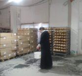 Священнослужитель освятил пасхальную выпечку в Ардатовском хлебопекарном заводе