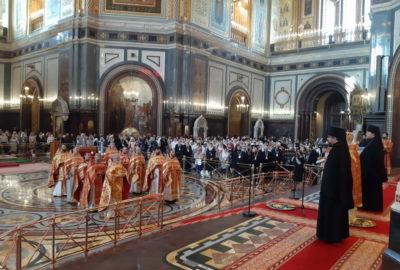 В день открытия Общецерковного съезда по социальному служению в Храме Христа Спасителя прошло соборное богослужение